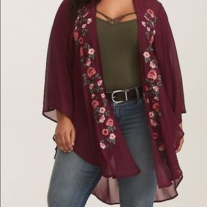 Torrid: Burgundy Floral-Embroidered Kimono